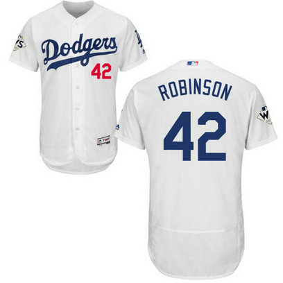 Men's Los Angeles Dodgers #42 Jackie Robinson White Flexbase 2017 World Series Bound Patch Jersey