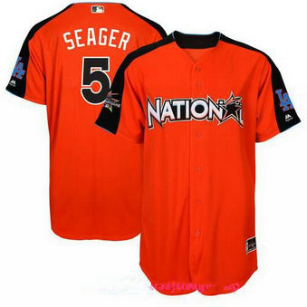 Men's Los Angeles Dodgers #5 Corey Seager National League Majestic Orange 2017 MLB All-Star Game Authentic Home Run Derby Jersey
