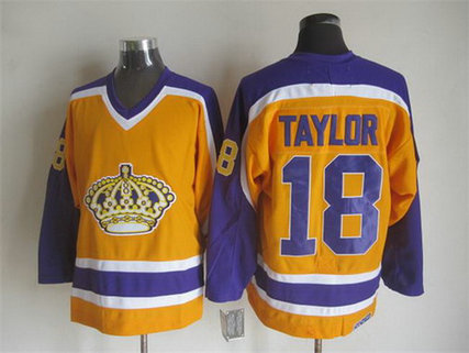 Men's Los Angeles Kings #18 Dave Taylor 1980-81 Yellow CCM Vintage Throwback Jersey