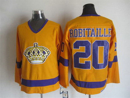 Men's Los Angeles Kings #20 Luc Robitaille 1970-71 White CCM Vintage Throwback Jersey