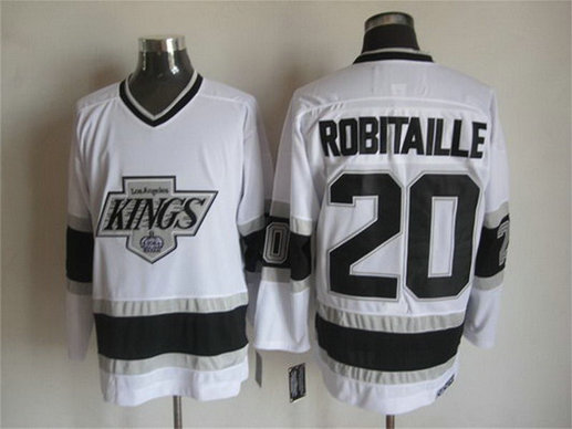 Men's Los Angeles Kings #20 Luc Robitaille 1992-93 White CCM Vintage Throwback Jersey