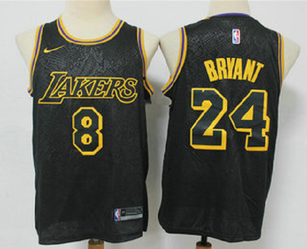 Men's Los Angeles Lakers ##8 #24 Kobe Bryant Black 2020 Nike City Edition Stitched Jersey