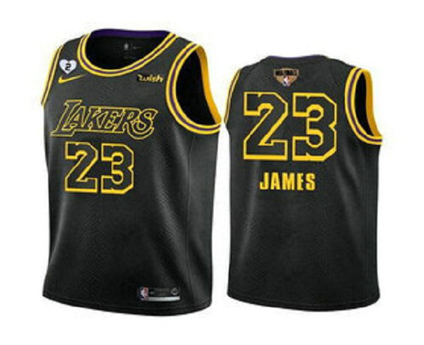 Men's Los Angeles Lakers #23 LeBron James Black 2020 Finals With GiGi Patch Stitched NBA Jersey