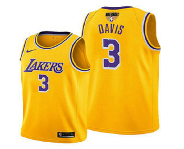 Men's Los Angeles Lakers #3 Anthony Davis 2020 Yellow Finals Stitched NBA Jersey
