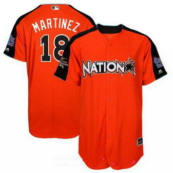 Men's Louis Cardinals #18 Carlos Martinez National League Majestic Orange 2017 MLB All-Star Game Authentic Home Run Derby Jersey