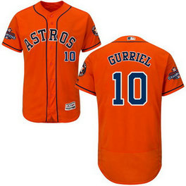 Men's MLB Houston Astros #10 Yuli Gurriel Orange 2017 World Series Champions Stitched Flexbase Jersey