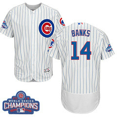 Men's Majestic Chicago Cubs #14 Ernie Banks White 2016 World Series Champions Flexbase MLB Jersey