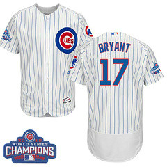 Men's Majestic Chicago Cubs #17 Kris Bryant White 2016 World Series Champions Flexbase MLB Jersey