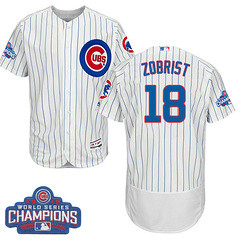 Men's Majestic Chicago Cubs #18 Ben Zobrist White 2016 World Series Champions Flexbase MLB Jersey