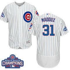 Men's Majestic Chicago Cubs #31 Greg Maddux White 2016 World Series Champions Flexbase MLB Jersey