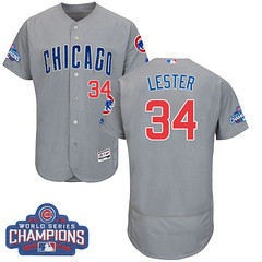 Men's Majestic Chicago Cubs #34 Jon Lester Grey 2016 World Series Champions Flexbase MLB Jersey