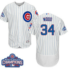 Men's Majestic Chicago Cubs #34 Kerry Wood White 2016 World Series Champions Flexbase MLB Jersey