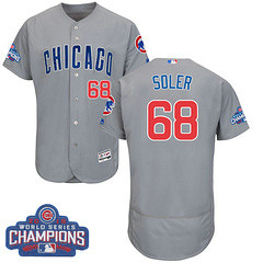 Men's Majestic Chicago Cubs #68 Jorge Soler Grey 2016 World Series Champions Flexbase MLB Jersey