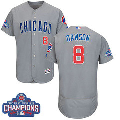 Men's Majestic Chicago Cubs #8 Andre Dawson Grey 2016 World Series Champions Flexbase MLB Jersey