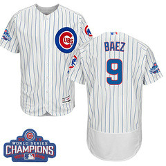 Men's Majestic Chicago Cubs #9 Javier Baez White 2016 World Series Champions Flexbase MLB Jersey