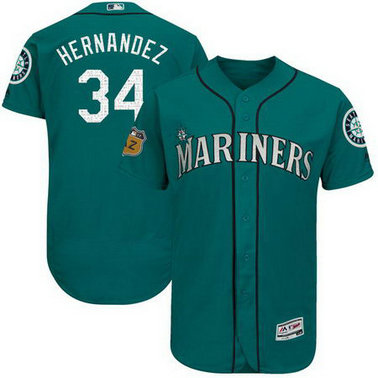 Men's Mariners 34 Felix Hernandez Green 2017 Spring Training Flexbase Jersey