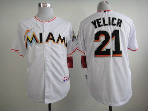 Men's Miami Marlins #21 Christian Yelich White Jersey