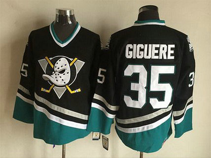 Men's Mighty Ducks Of Anaheim #35 Jean-Sebastien Giguere 1995-96 Black CCM Vintage Throwback Jersey
