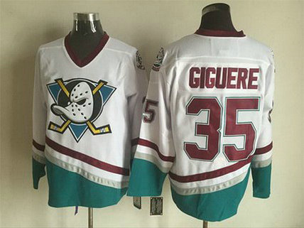 Men's Mighty Ducks Of Anaheim #35 Jean-Sebastien Giguere 1995-96 White CCM Vintage Throwback Jersey