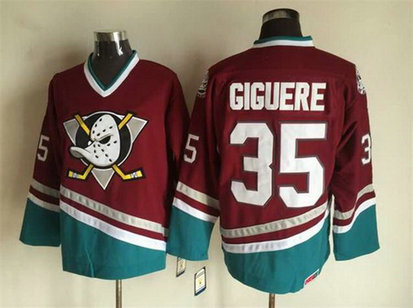 Men's Mighty Ducks of Anaheim #35 Jean-Sebastien Giguere 1995-96 Red CCM Vintage Throwback Jersey