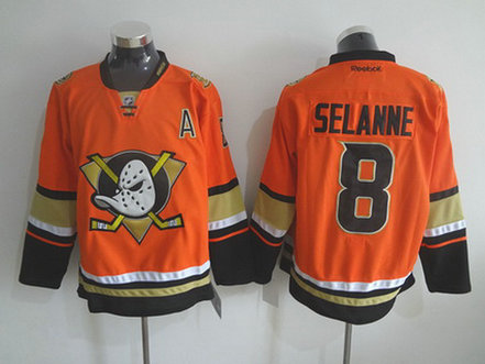 Men's Mighty Ducks of Anaheim #8 Teemu Reebok 2015 Orange Alternate Premier Jersey