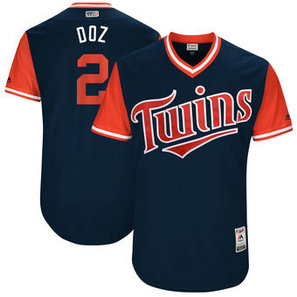Men's Minnesota Twins #2Brian Dozier Nick Name Doz Majestic Navy 2017 Players Weekend Jersey
