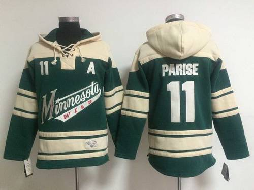 Men's Minnesota Wild #11 Zach Parise Old Time Hockey Green Hoodie
