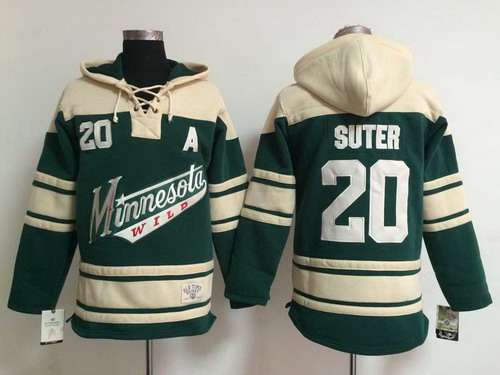 Men's Minnesota Wild #20 Ryan Suter Old Time Hockey Green Hoodie