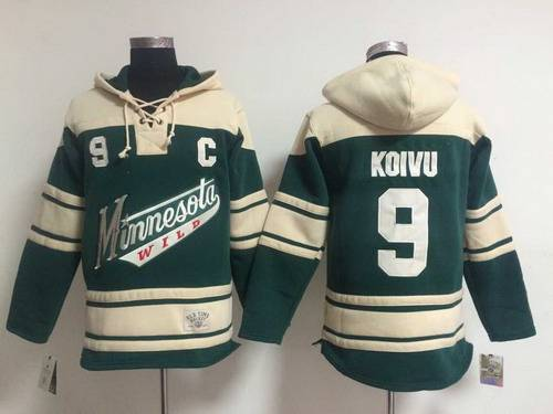 Men's Minnesota Wild #9 Mikko Koivu Old Time Hockey Green Hoodie