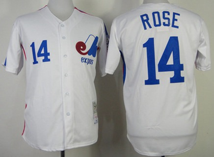 Men's Montreal Expos #14 Pete Rose 1982 White Mitchell & Ness Jersey