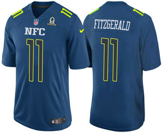 Men's NFC Arizona Cardinals #11 Larry Fitzgerald Navy Blue 2017 Pro Bowl Stitched NFL Nike Game Jersey