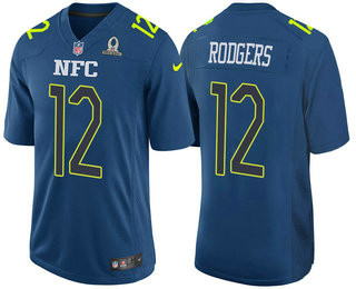 Men's NFC Green Bay Packers #12 Aaron Rodgers Navy Blue 2017 Pro Bowl Stitched NFL Nike Game Jersey