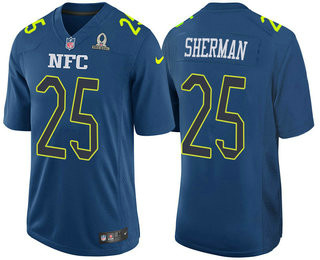 Men's NFC Seattle Seahawks #25 Richard Sherman Navy Blue 2017 Pro Bowl Stitched Nike Game Jersey