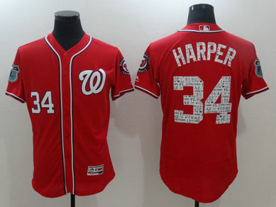 Men's Nationals 34 Bryce Harper Red 2017 Spring Training Flexbase Jersey