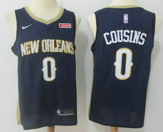 Men's New Orleans Pelicans #0 DeMarcus Cousins New Navy Blue 2017-2018 Nike Swingman Stitched NBA Jersey
