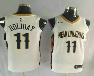 Men's New Orleans Pelicans #11 Jrue Holiday Stitched New White 2017-2018 Nike Swingman NBA Jersey