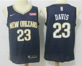 Men's New Orleans Pelicans #23 Anthony Davis New Stitched Navy Blue 2017-2018 Nike Swingman Zatarains NBA Jersey
