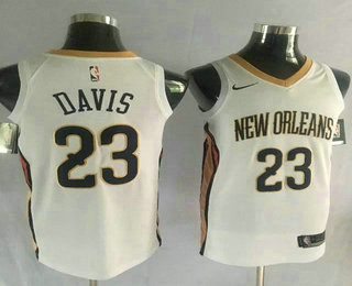 Men's New Orleans Pelicans #23 Anthony Davis Stitched New White 2017-2018 Nike Swingman NBA Jersey