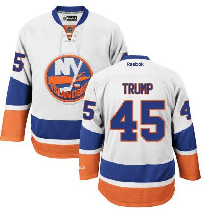 Men's New York Islanders #45th Presidential Candidate Donald Trump White Jersey