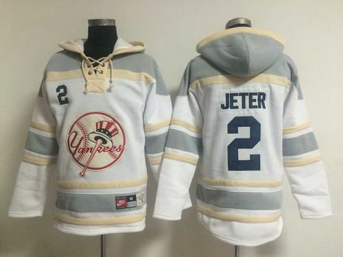 Men's New York Yankees #2 Derek Jeter White Hoodie