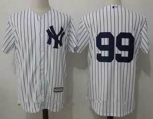 Men's New York Yankees #99 Aaron Judge No Name White Home Stitched MLB Jersey