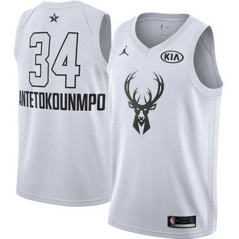 Men's Nike Bucks #34 Giannis Antetokounmpo White NBA Jordan Swingman 2018 All-Star Game Jersey