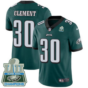 Men's Nike Eagles #30 Corey Clement Midnight Green Team Color Super Bowl LII Champions Stitched NFL Vapor Untouchable Limited Jersey