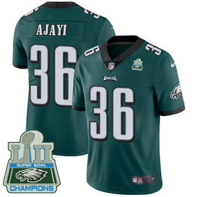 Men's Nike Eagles #36 Jay Ajayi Midnight Green Team Color Super Bowl LII Champions Stitched NFL Vapor Untouchable Limited Jersey