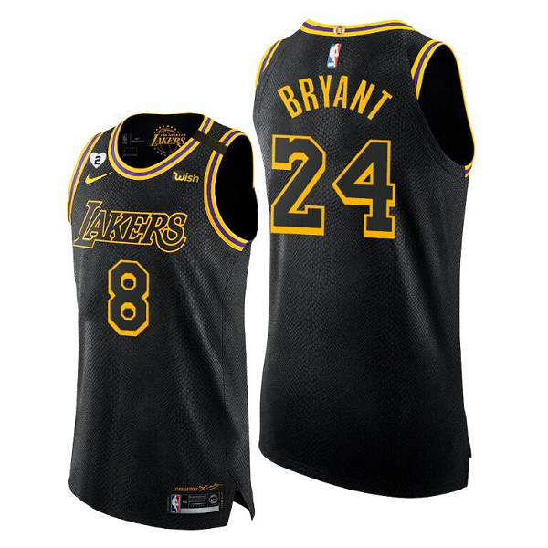 Men's Nike Los Angeles Lakers Front #8 Back #24 Kobe Bryant Black Mamba Day Authentic Special Edition Jersey
