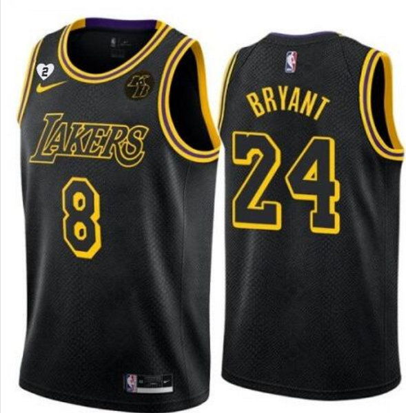 Men's Nike Los Angeles Lakers Front #8 Back #24 Kobe Bryant With KB Patch Gigi Patch Black Stitched Jersey