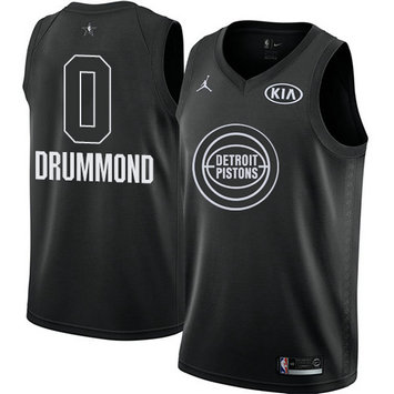 Men's Nike Pistons #0 Andre Drummond Black NBA Jordan Swingman 2018 All-Star Game Jersey