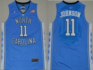 Men's North Carolina Tar Heels #11 Brice Johnson 2016 Light Blue Swingman College Basketball Jersey