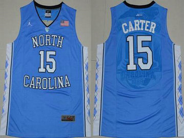 Men's North Carolina Tar Heels #15 Vince Carter 2016 Light Blue Swingman College Basketball Jersey