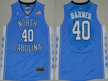 Men's North Carolina Tar Heels #40 Harrison Barnes 2016 Light Blue Swingman College Basketball Jersey